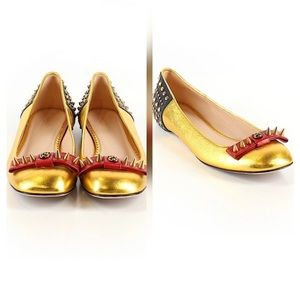 Gucci Lexi Leather studded ballets flats